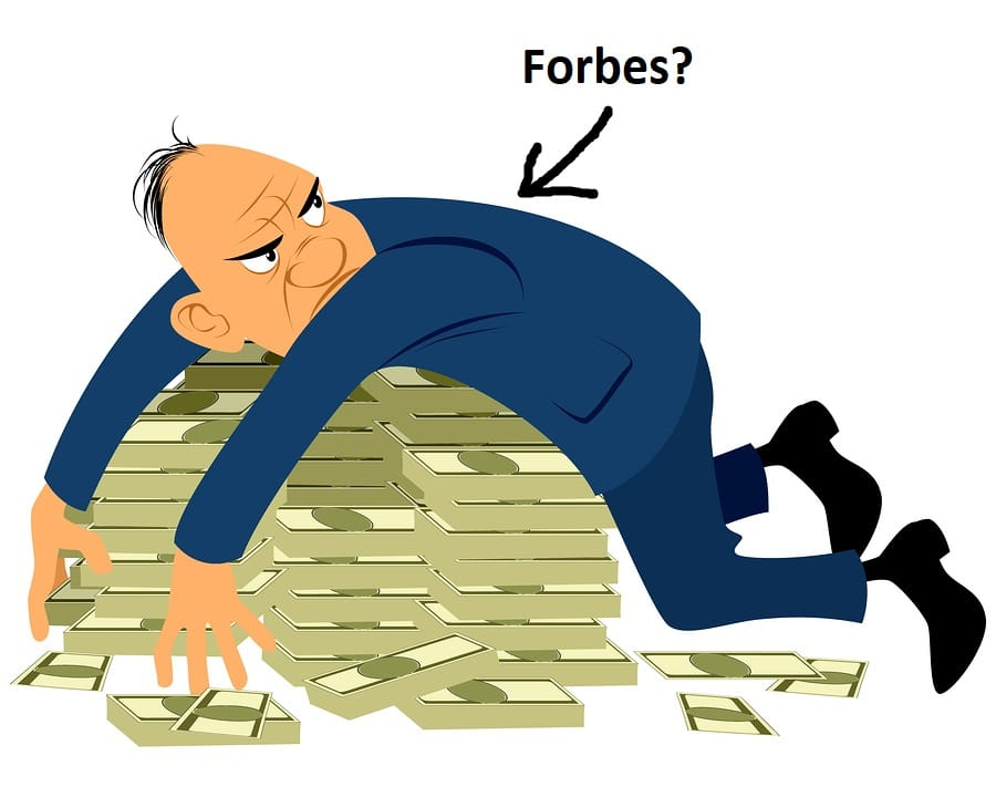 Greedy businessman on a pile of money