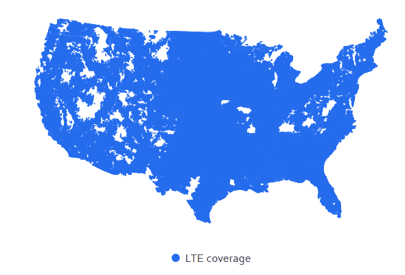 Xfinity Mobile LTE coverage map