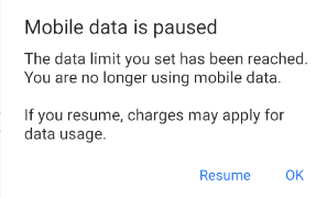 Mobile data is paused notification