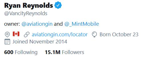 Reynold's Twitter Bio Screenshot