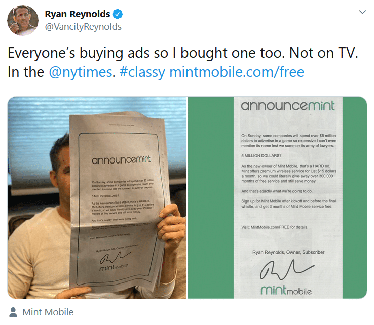 Ryan Reynolds tweet about Mint Mobile's 3 months free promotion