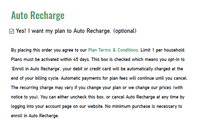 Mint Mobile Auto Recharge