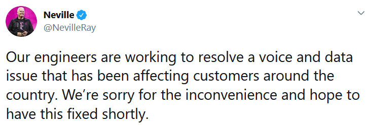 Neville Ray's tweet acknowledging the outage