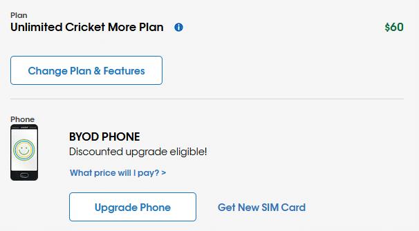 Plan management screenshot from Cricket's website