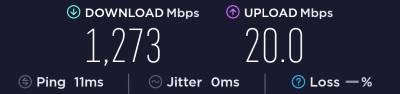 Speed test screenshot with Verizon's 5G millimeter wave service showing a downloadspeed of 1,273Mbps
