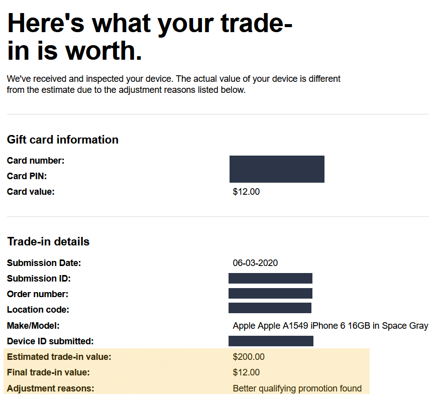 Trade in adjustment email