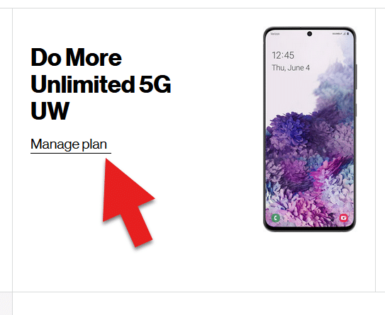 Screenshot from My Verizon showing a specific device