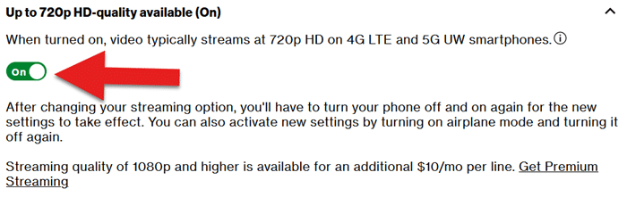 Screenshot showing where to toggle between 480p (standard definition) and 720p (high definition)