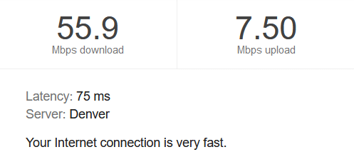 Fast speed test results