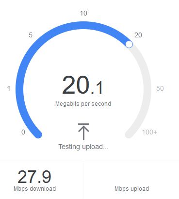 Speed test showing results over 20Mbps over a hotspot connection