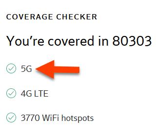 Xfinity Mobile screenshot indicating 5G availability