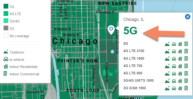 Mint Mobile coverage map screenshot showing 5G coverage in Chicago