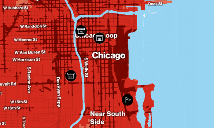 Verizon 5G mmWave coverage map showing Chicago