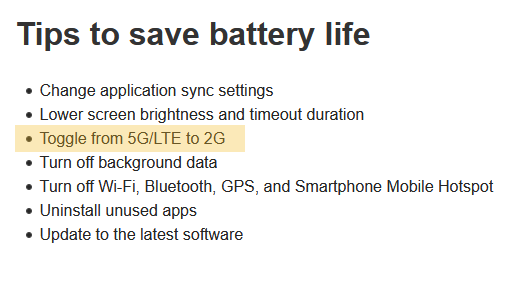 Screenshot showing T-Mobile suggesting to turn off 5G to save battery life