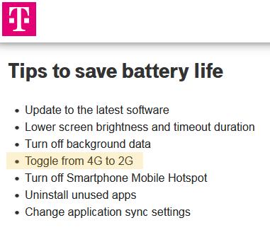 T-Mobile tips for saving battery life
