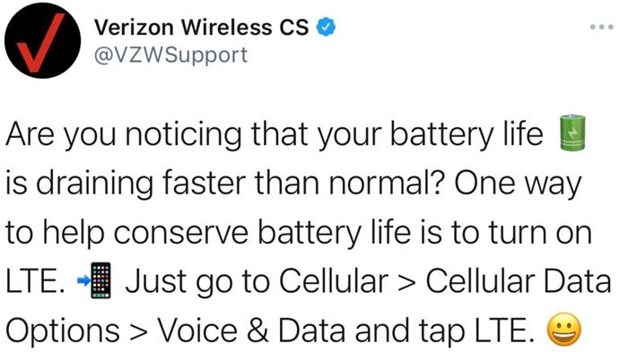 Verizon 5G battery life tweet