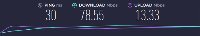 Test result showing 30ms ping and 78.5 Mbps download speed
