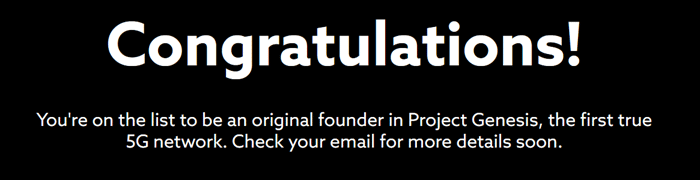 Message congratulating me for being a founding member of Project Genesis