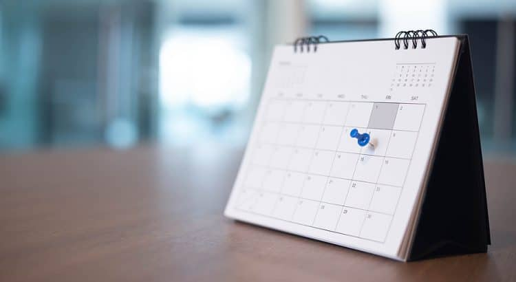 Calendar with a date pinned